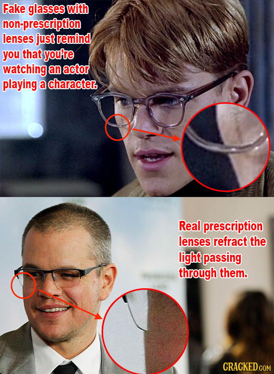Fake glasses with non-prescription lenses just remind you that you're watching an actor playing a character. Real prescription lenses refract the ligh