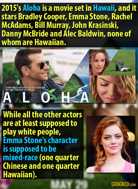 2015's Aloha is a movie set in Hawail, and it stars Bradley Cooper, Emma Stone, Rachel McAdams, Bill Murray, John Krasinski, Danny McBride and Alec Ba