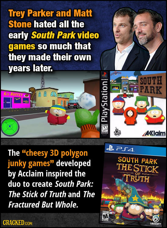 Trey Parker and Matt Stone hated all the early South Park video games So much that they made their own years later. SOUTH PARK Ki's BUFFET oE 8 P piav