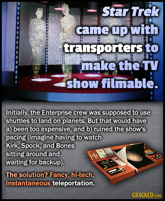 Star Trek came up with transporters to make the TV show filmable. Initially, the Enterprise crew was supposed to use shuttles to land on planets. But