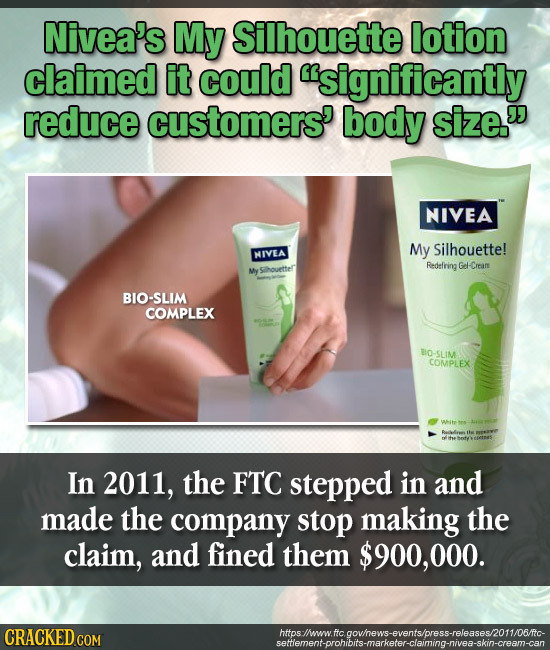 Nivea's My Silhouette lotion claimed it could significantly reduce customers' body size. NIVEA My Silhouette! NIVEA Redefring Gel-Cream ouettelr BIO