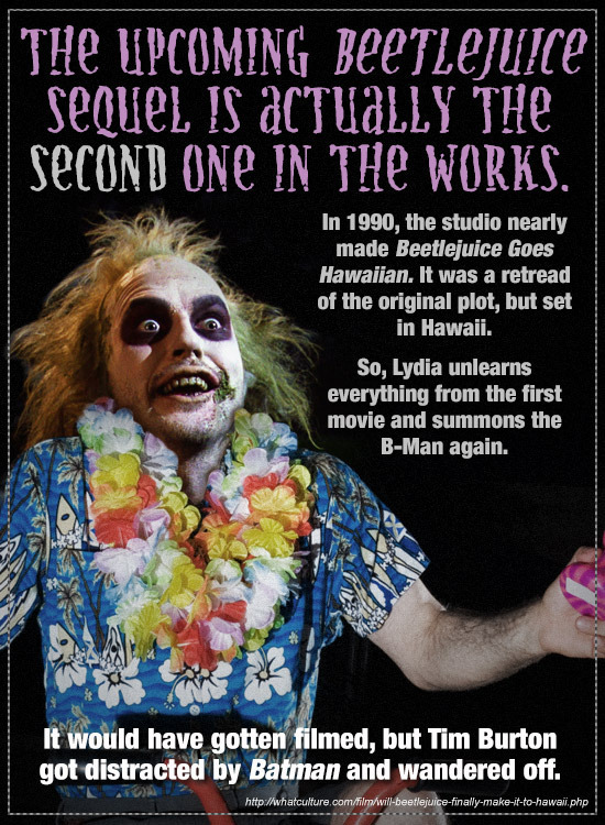 THe UPCOMING BeeTLejuice secuel IS aCTuaLLY THe SECOND oNe IN tHe WORKS. In 1990, the studio nearly made Beetlejuice Goes Hawaiian. It was a retread o