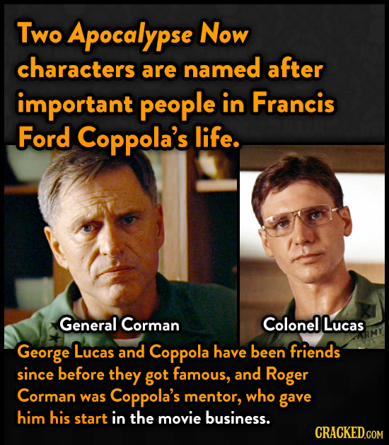 Two Apocalypse Now characters after are named important people in Francis Ford Coppola's life. General Corman Colonel Lucas George Lucas and Coppola h