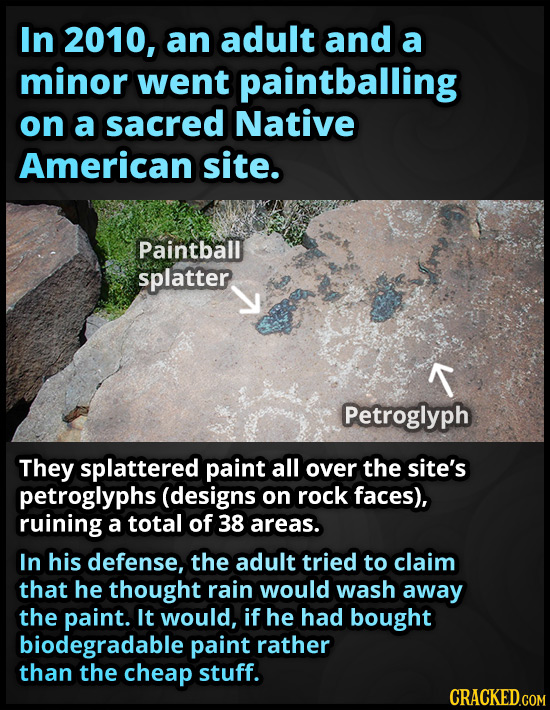 In 2010, an adult and a minor went paintballing on a sacred Native American site. Paintball splatter T Petroglyph They splattered paint all over the s