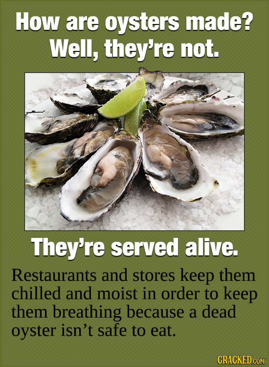 HoW are oysters made? Well, they're not. They're served alive. Restaurants and stores keep them chilled and moist in order to keep them breathing beca