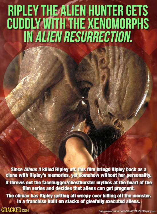 RIPLEY THE ALIEN HUNTER GETS CUDDLY WITH THE XENOMORPHS IN ALIEN RESURRECTION. Since Aliens 3 killed Ripley off, this film brings Ripley back as a clo