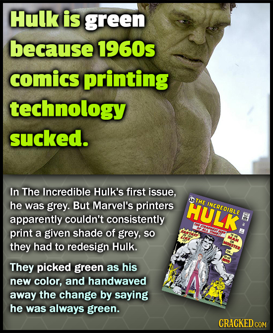 Hulk is green because 1960s comics printing technology sucked. In The Incredible Hulk's first issue, was grey. But Marvel's printers HULK THE he INCRE