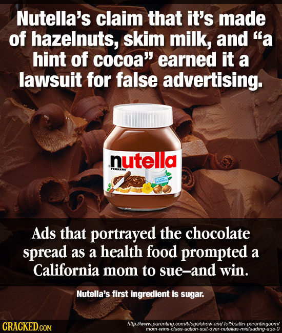 Nutella's claim that it's made of hazelnuts, skim milk, and a hint of cocoa' earned it a lawsuit for false advertising. nutella Ads that portrayed t