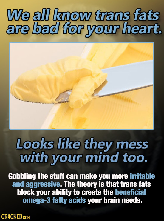We all know trans fats are bad for your heart. Looks like they mess with your mind too. Gobbling the stuff can make you more irritable and aggressive.