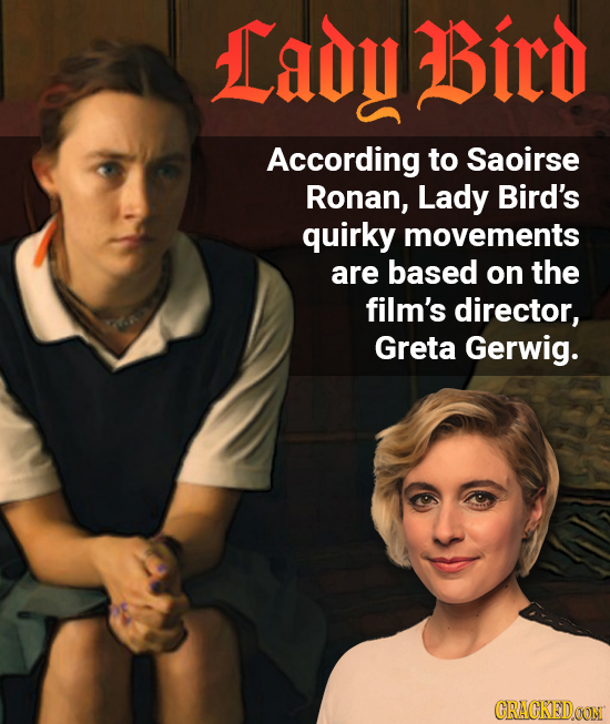 Lady Bitd According to Saoirse Ronan, Lady Bird's quirky movements are based on the film's director, Greta Gerwig. CRACKEID OONI