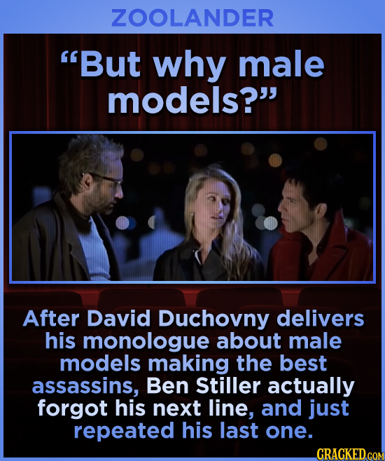ZOOLANDER But why male models? After David Duchovny delivers his monologue about male models making the best assassins, Ben Stiller actually forgot