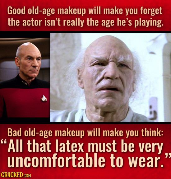 Good old-age makeup will make you forget the actor isn't really the age he's playing. Bad old-age makeup will make you think: All that latex must be