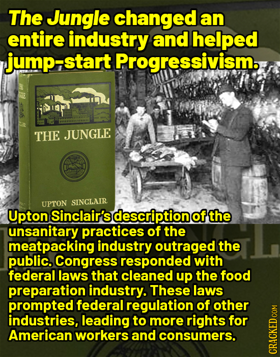 The Jungle changed an entire industry and helped jump-start Progressivism. THE JUNGLE UPTON SINCLAIR Upton Sinclair's description of the unsanitary pr