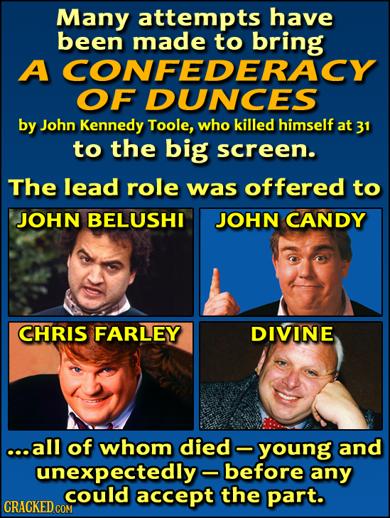 Many attempts have been made to A CONFEDERACY OF DUNCES by John Kennedy Toole, who killed himself at 31 to the big screen. The lead role was offered t