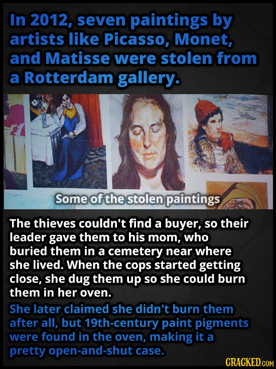 In 2012, seven paintings by artists like Picasso, Monet, and Matisse were stolen from a Rotterdam gallery. Some of the stolen paintings The thieves co