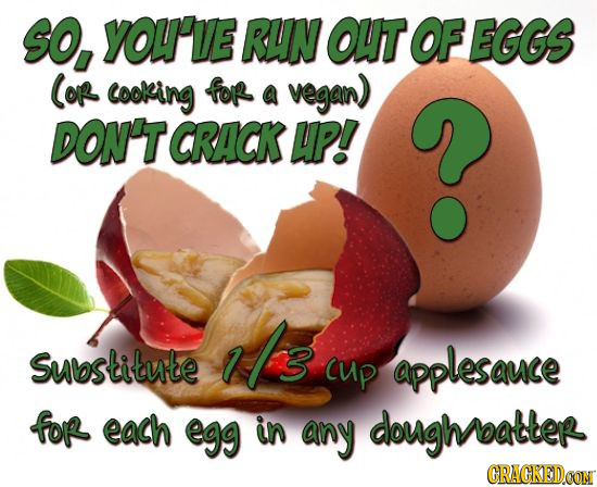 SO, YOU'VE RUN OUT OF EGGS COR cooking for a vegan) DON'T CRACK HP.! Is Substitute CUp applesauce for each egg in any doughoatter CRACKEDCON