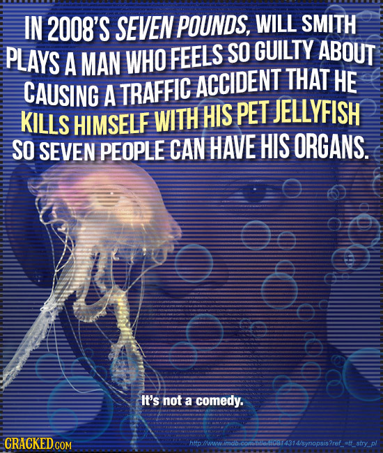 IN 2008'S SEVEN POUNDS, WILL SMITH PLAYS WHO SO GUILTY ABOUT A MAN FEELS THAT HE CAUSING A TRAFFIC ACCIDENT PET JELLYFISH KILLS HIMSELF WITH HIS SO SE