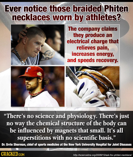 Ever notice those braided Phiten necklaces worn by athletes? The company claims they produce an electrical charge that relieves pain, increases energy