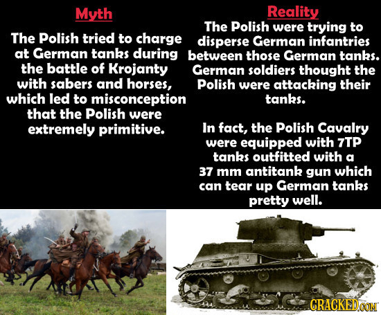 Myth Reality The Polish were trying to The Polish tried to charge disperse German infantries at German tanks during between those German tanks. the ba