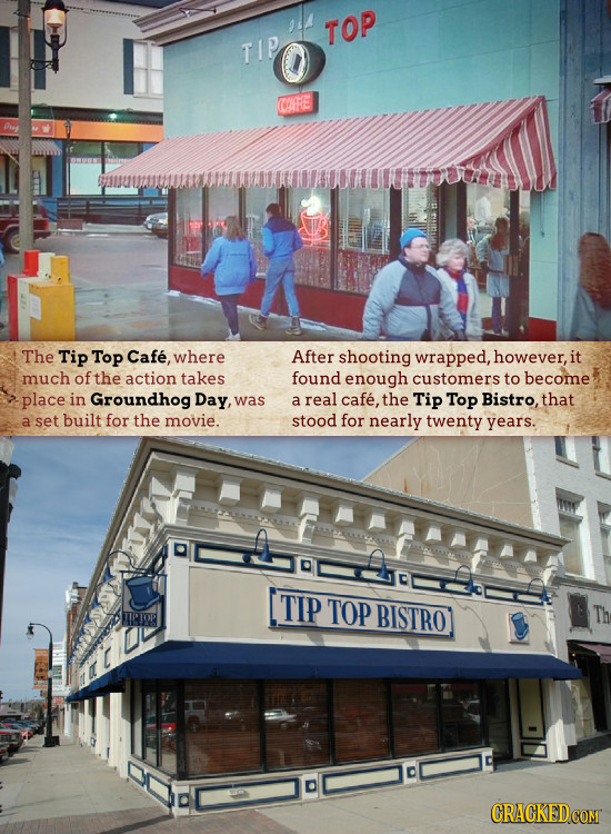 TOP TIP ORE The Tip Top Cafe, where After shooting wrapped, however, it much of the action takes found enough customers to become place in Groundhog D