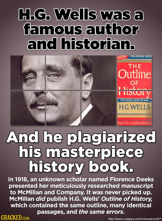 H.G. Wells Was a famous author and historian. EDITI NEW ENLARGED THE Outline OF E History THE WHOL STORY Of MAN HGWELLS And he plagiarized his masterp