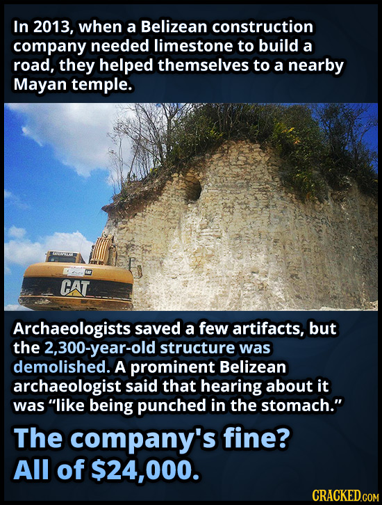 In 2013, when a Belizean construction company needed limestone to build a road, they helped themselves to a nearby Mayan temple. CAT Archaeologists sa