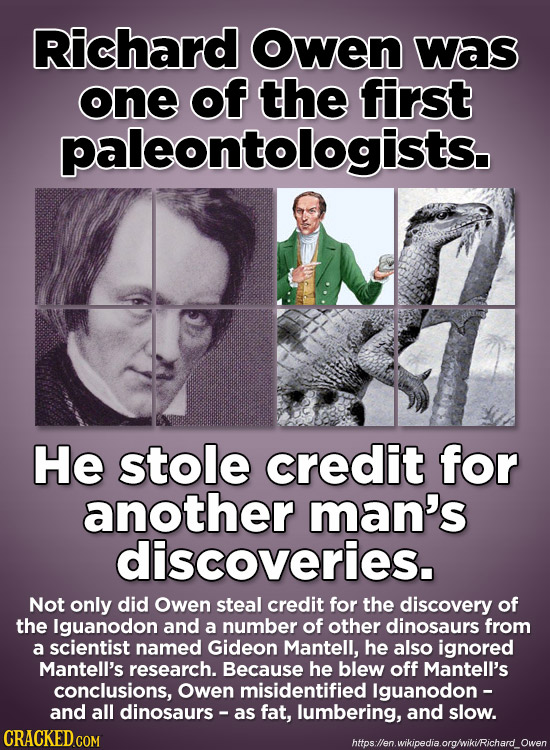 Richard owen was one of the first paleontologists. He stole credit for another man's discoveries. Not only did Owen steal credit for the discovery of