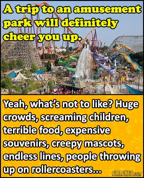 A trip to an amusement park will definitely cheer you upo Yeah, what's not to like? Huge crowds, screaming children, terrible food, expensive souvenir