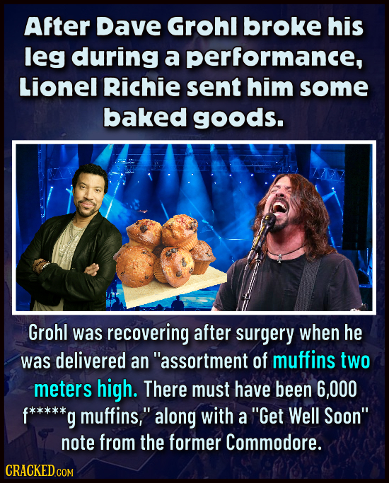 After Dave Grohl broke his leg during a performance, Lionel Richie sent him some baked goods. Grohl was recovering after surgery when he was delivered