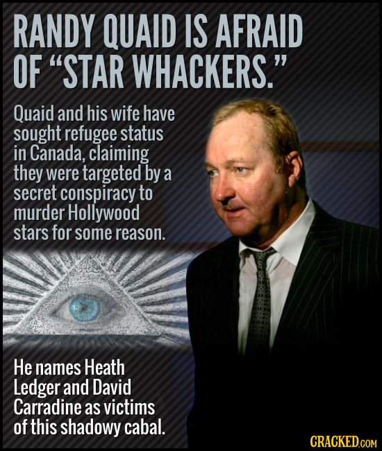 RANDY QUAID IS AFRAID OF STAR WHACKERS. Quaid and his wife have sought refugee status in Canada, claiming they were targeted by a secret conspiracy