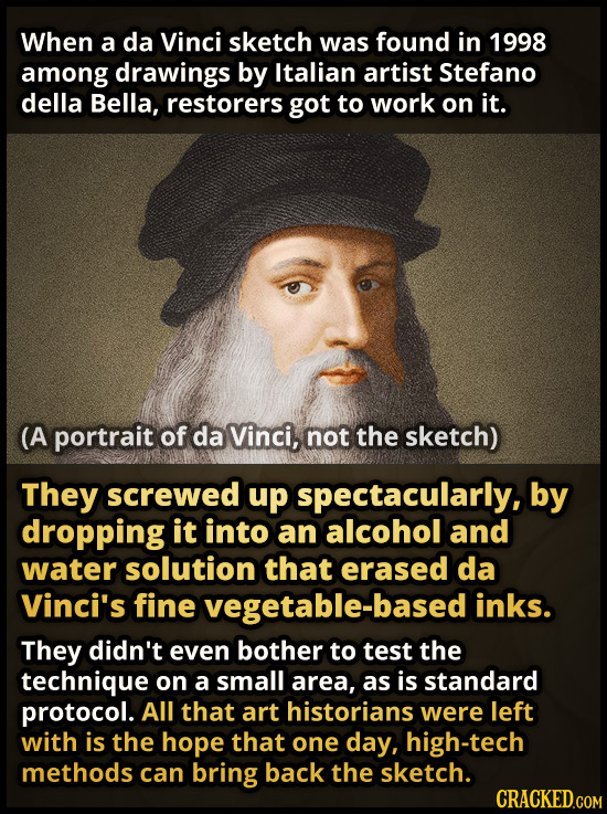 When a da Vinci sketch was found in 1998 among drawings by Italian artist Stefano della Bella, restorers got to work on it. (A portrait of da Vinci, n