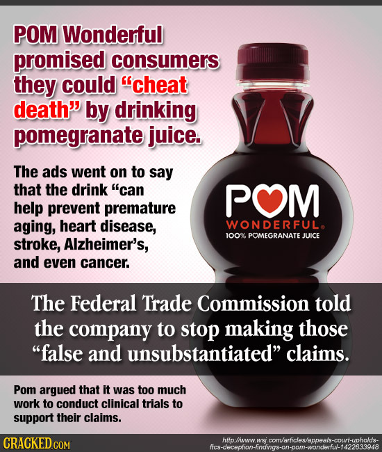 POM Wonderful promised consumers they could cheat death by drinking pomegranate juice. The ads went on to say that the drink can POM help prevent p