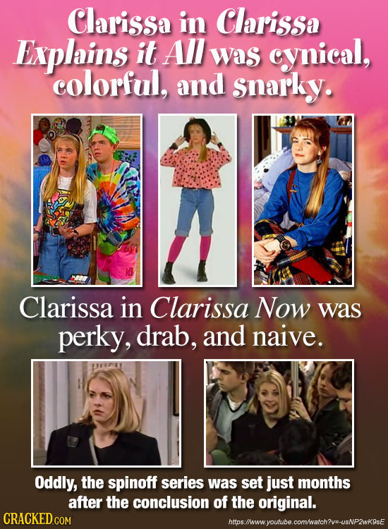 Clarissa in Clarissa Enxplains it AI Was cynical, colorful, and snarky. Clarissa in Clarissa Now was perky, drab, and naive. Oddly, the spinoff series