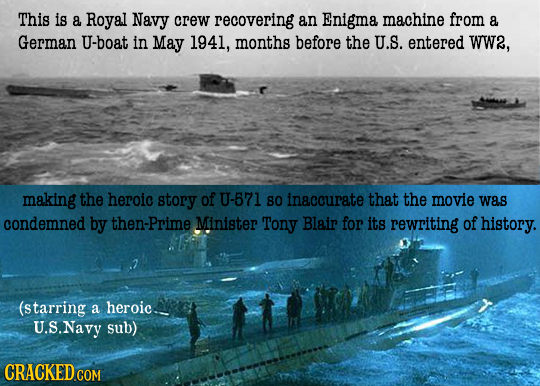This is a Royal Navy crew recovering an Enigma machine from a German U-boat in May 1941, months before the U.S. entered WW2, making the heroic story o