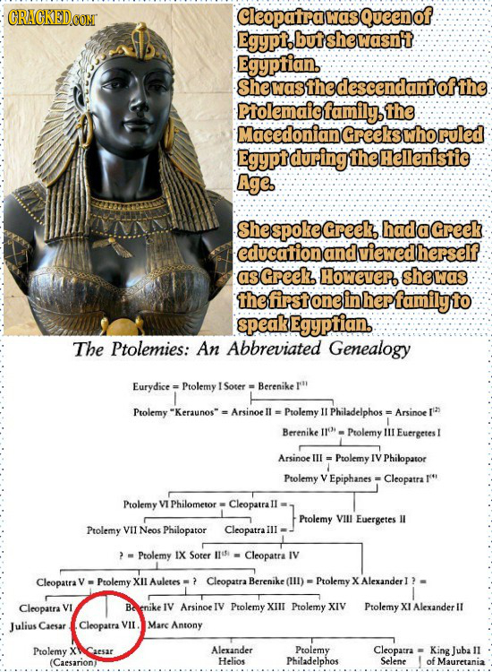 CRACKEDCON Cleopatra was Queeno Egypt. but she wasnt EgyPianbndantofthe Ptolemaicfamily. the Macedoniand Greekswho ruled Egypt during the Hellenistic
