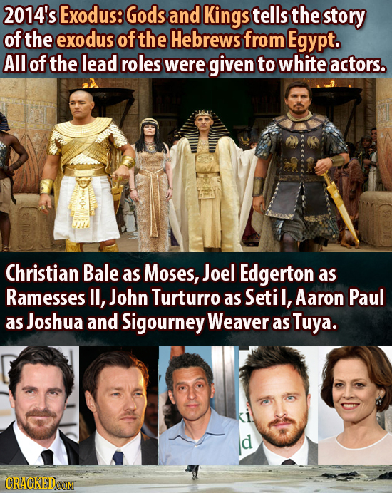 2014's Exodus: Gods and Kings tells the story of the exodus of the Hebrews from Egypt. AIl of the lead roles were given to white actors. Christian Bal