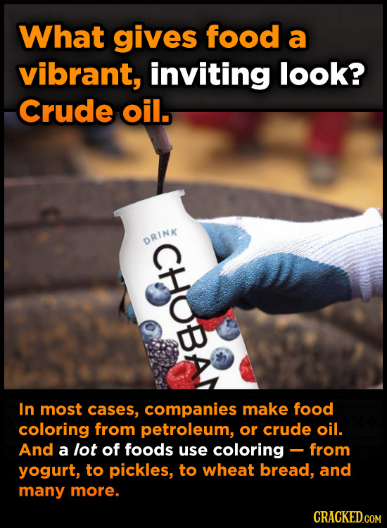 What gives food a vibrant, inviting look? Crude oil. CHoBA In most cases, companies make food coloring from petroleum, or crude oil. And a lot of food