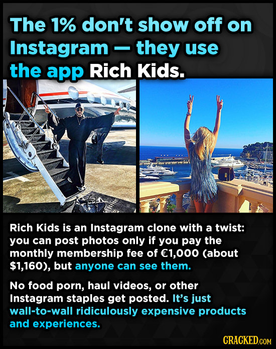 The 1% don't show off on Instagram -they use the app Rich Kids. Rich Kids is an Instagram clone with a twist: you can post photos only if you pay the