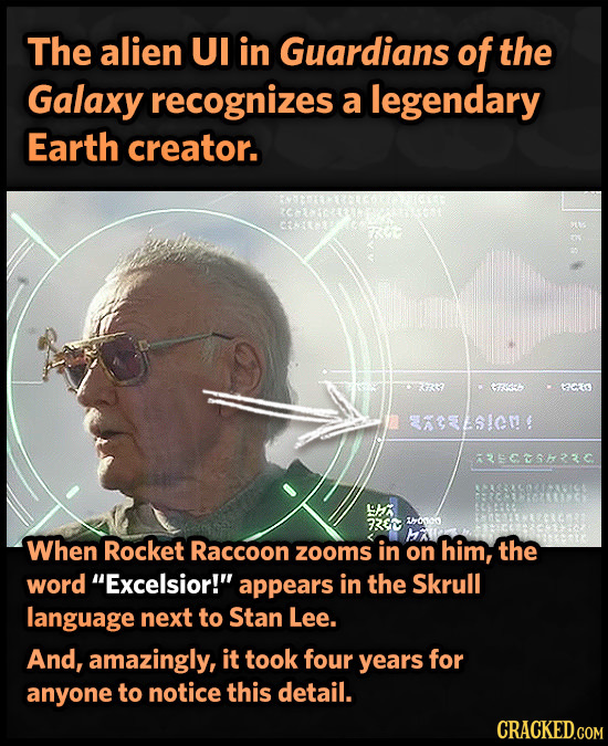 The alien UI in Guardians of the Galaxy recognizes a legendary Earth creator. GR tCIS AREL5ICM ascushzc 1H 73r 10oo MA When Rocket Raccoon him, zooms