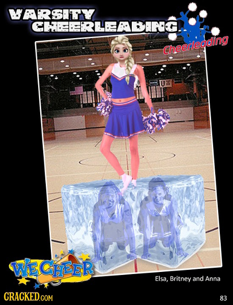 WARSITY CHEEEERLEEABIRG. Cheerleading WE CHEER Elsa, Britney and Anna CRACKED.COM 83