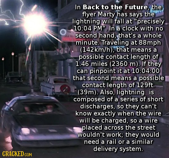 In Back to the Future, the flyer Marty has says the lightning will fall at precisely 10:0 PM. In a clock with no second hand, that's a whole minute.