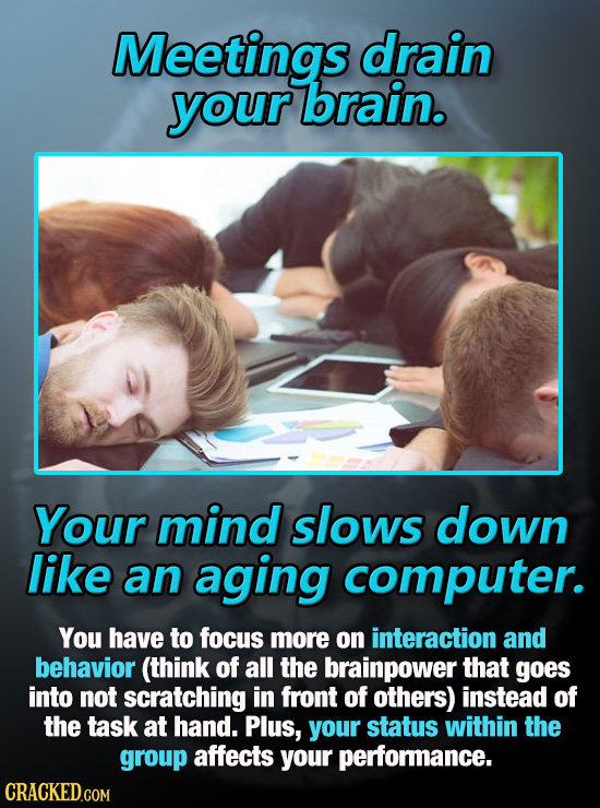 Meetings drain your brain. Your mind slows down like an aging computer. You have to focus more on interaction and behavior (think of all the brainpowe