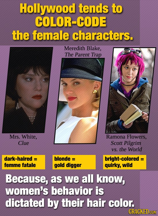 Hollywood tends to COLOR-CODE the female characters. Meredith Blake, The Parent Trap Mrs. White, Ramona Flowers, Clue Scott Pilgrim VS. the World dark