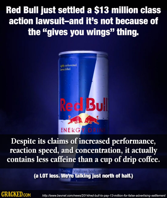Red Bull just settled a $13 million class action lawsuit-and it's not because of the gives you wings thing. Idly t cocbonated. Soechiled Red Bu!l EN
