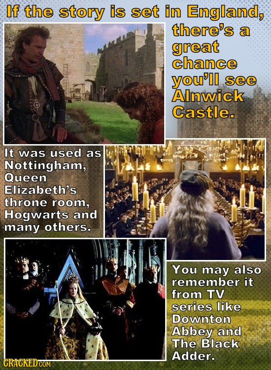 If the story is set in England, there's a great chance you'll see AInwick Castle. It was used as Nottingham, Queen Elizabeth's throne room, Hogwarts a