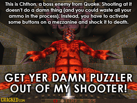 This is Chthon, a boss enemy from Quake. Shooting at it doesn't do a damn thing (and You could waste all your ammo in the process). Instead, you have