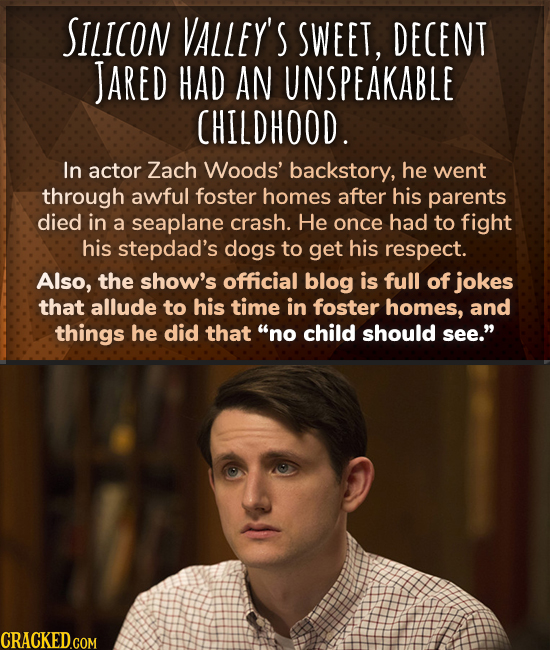 SILICON VALLEY'S SWEET, DECENT JARED HAD AN UNSPEAKABLE CHILDHOOD. In actor Zach Woods' backstory, he went through awful foster homes after his parent