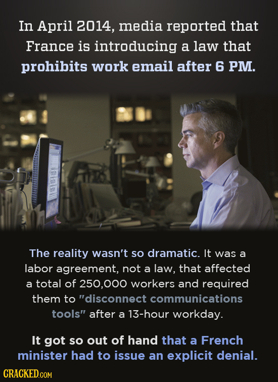 In April 2014, media reported that France is introducing a law that prohibits work email after 6 PM. The reality wasn't sO dramatic. It was a labor ag