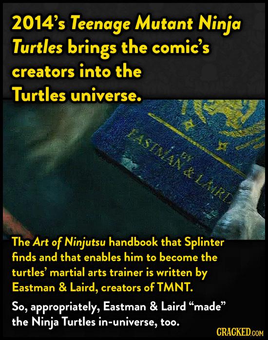 2014's Teenage Mutant Ninja Turtles brings the comic's creators into the Turtles universe. The Art of Ninjutsu handbook that Splinter finds and that e