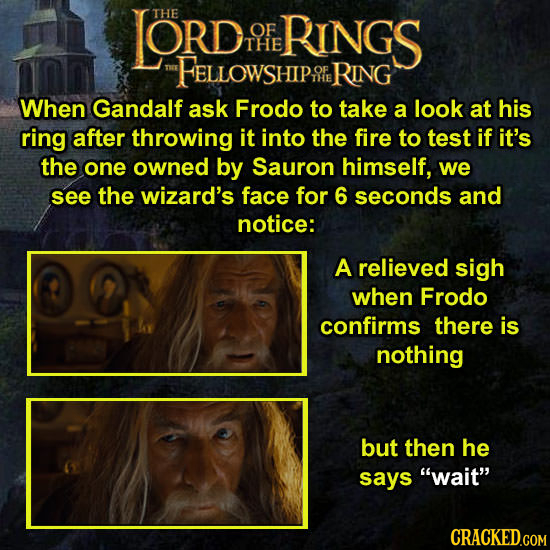 LORD THE OF RINGS THE FELLOWSHIP RING When Gandalf ask Frodo to take a look at his ring after throwing it into the fire to test if it's the one owned